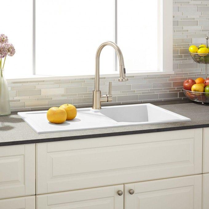 "34"" Allardt Drop-In Granite Composite Sink with Drainboard - White"