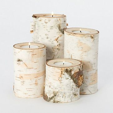 Fallen Birch Branch Votive Set - contemporary - candles and candle holders - Terrain