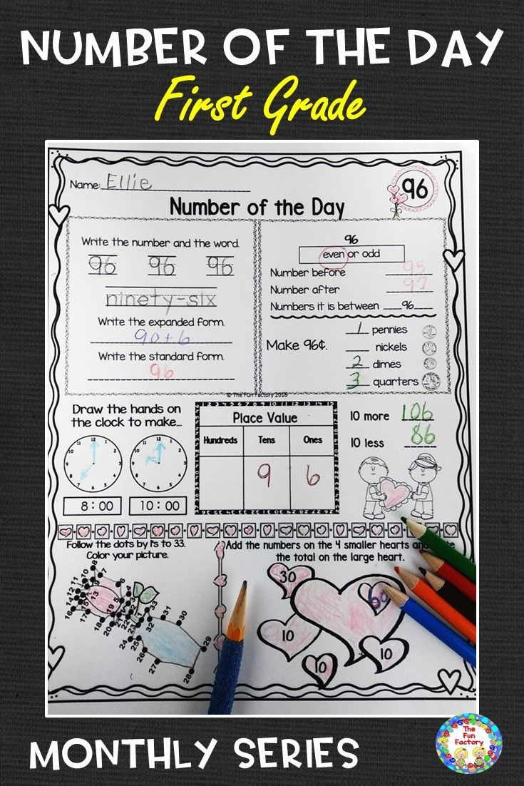 Number of the Day Worksheets   1st Grade Math Activities February   Place  Value   First grade math [ 1102 x 735 Pixel ]