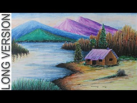 How To Draw A Sunset Scenery With Oil Pastel Youtube
