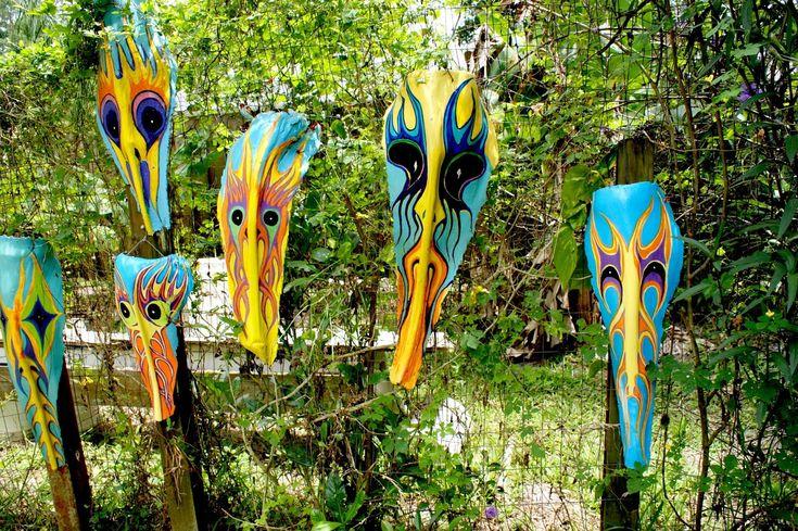 Eyes that hear denis paints masks palm frond art