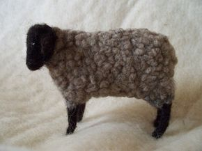 Grey Sheep Wool Needle Felted