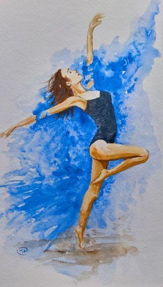 BALLERINA, Original Watercolour by Marjan's Art