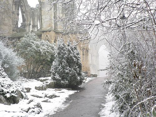 This is the ruins of the Abbey of St Mary in York, founded in 1055; at one time the richest abbey in northern England. Until King Henry VIII dissolved all the monasteries and it was closed and mostly destroyed, that is.