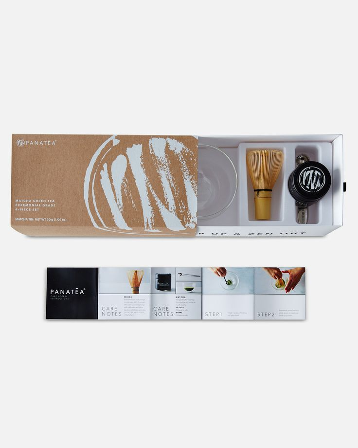 4-piece set includes all of the necessary components to make and enjoy matcha. Set includes: - Ceremonial Grade Matcha Green Tea Tin (30g = 30 Servings) - Custom Measuring Scoop (1g) - Double Wall Gla
