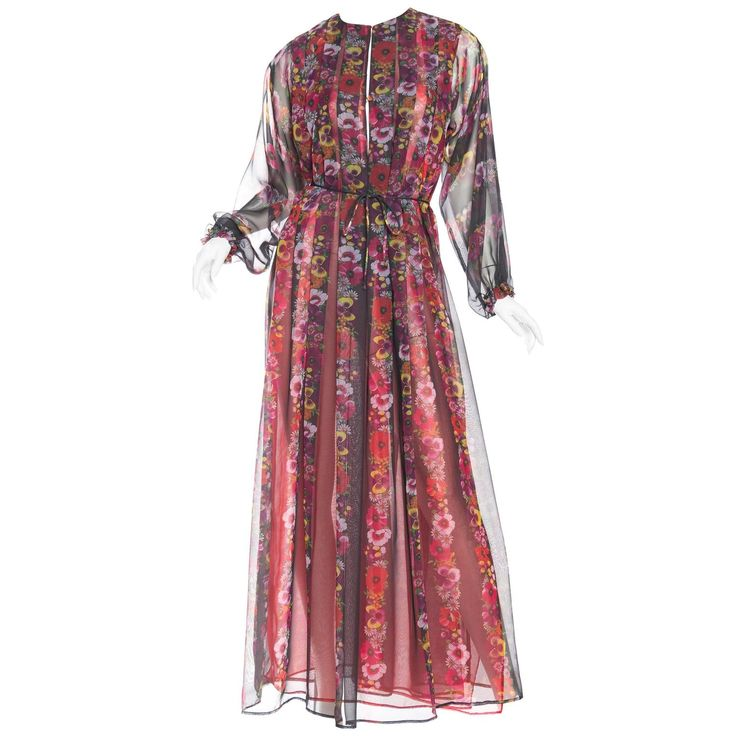 1970s Giorgio Sant Angelo Sheer Chiffon boho Dress | From a collection of rare vintage day dresses at https://www.1stdibs.com/fashion/clothing/day-dresses/