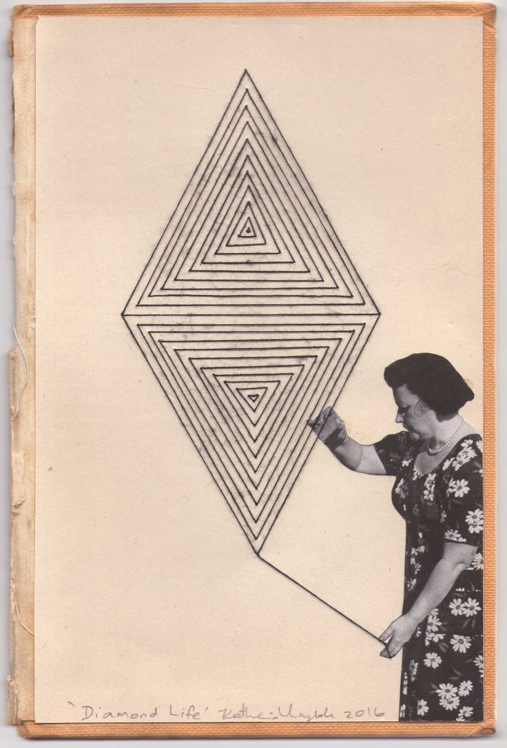 """""""Diamond Life"""". Katherine Claypole hand stitched thread drawing with collage 2016"""