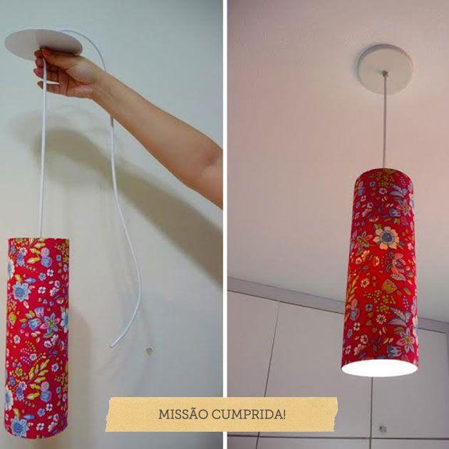 luminárias de cano em PVC forrado DIY