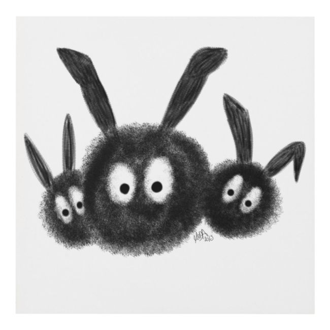 Three Dust Bunnies, Black and White Cartoon Wood Wall Art