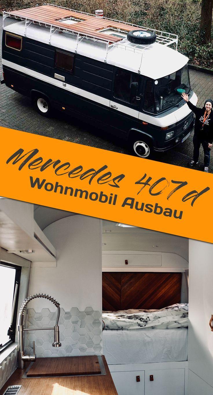 MERCEDES 407D ALS GEBRAUCHTES WOHNMOBIL AUSBAUEN – Glamping : Acampamento Glamour