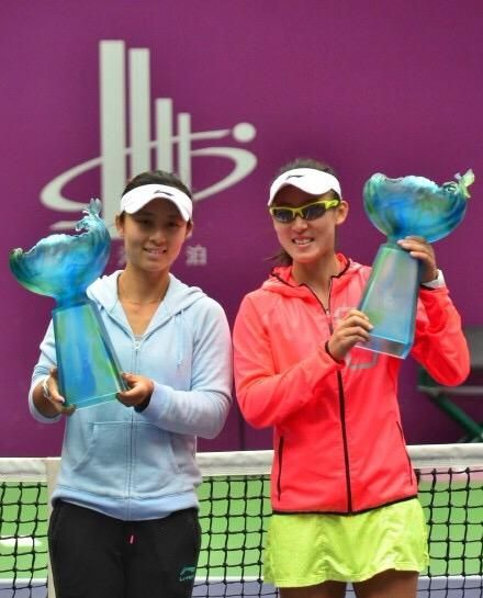 10/18/15 Tianjin Open Doubles Champions .. Via Zheng_Saisai:  Second #WTA title this year with Xu Yi-Fan! So excited winning at home! #LoveTianjin #PoweredByKeepImproving