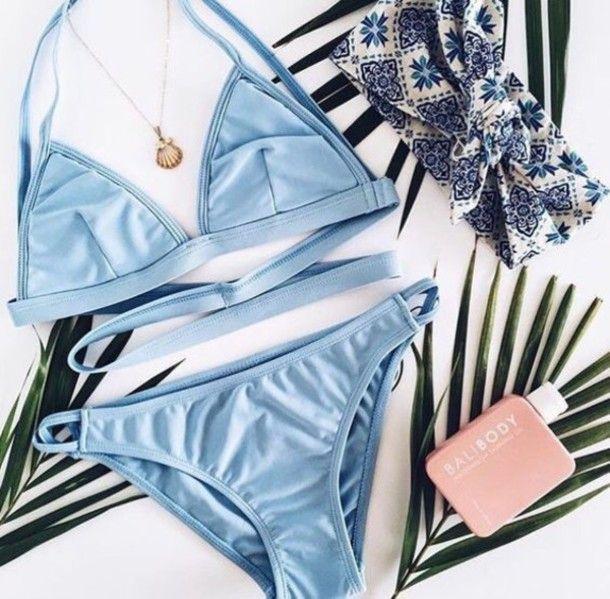 Swimwear: light blue bikini blue bikini strappy bikini  pastel sexy bikini beach Olha só que tesão de bikini pra nós delicadinhos usar por baixo do jeans