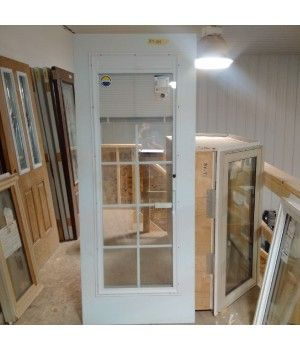 """32"""" x 79"""" Fiberglass Door Slab No Frame  This Smooth Fiberglass Door Slab comes with a 22x64 Triple Pane Mini-Blind with Grills Glass Insert   Need a Frame Too? Call us today to pr"""