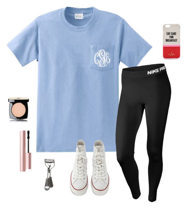 """""""What I wish I was wearing"""" by laurenemcclain ❤ liked on Polyvore featuring NIKE, Chanel, Too Faced Cosmetics, Kate Spade, Topshop and Converse"""