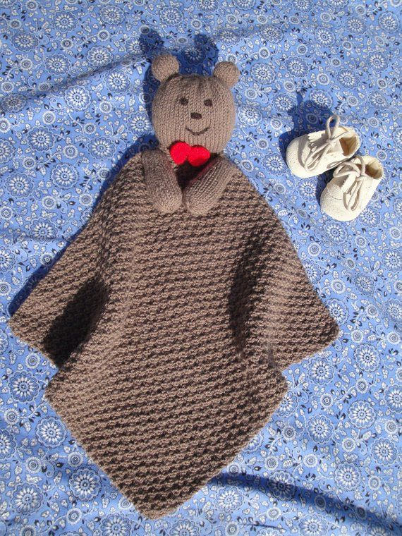 "Free knitting pattern for Teddy Bear Lovey - Finished measurement: 15"" x 15"" Also known as blanket buddy, lovey, lovie, comfort blanket, blanket toy, blankie, security blanket, woobie, cuddle."