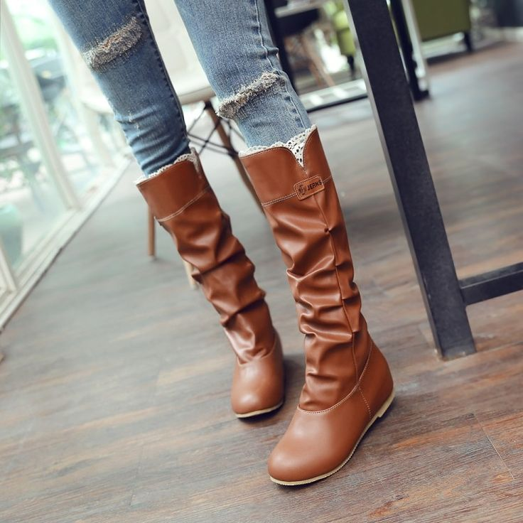 (37.40$)  Watch more here  - Big size 34-46 women flat knee boots ladies riding fashion long snow boot warm winter brand botas footwear shoes 669