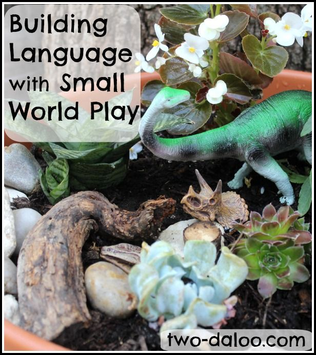 How to build language with small world play- lots of information for parents and professionals about symbolic play and language development and how to stimulate language with small world play!