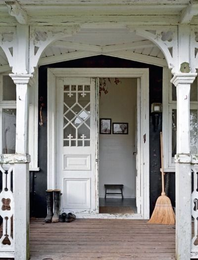This Shabby Porch is Filled with the Charm and Character I Love!  See More at thefrenchinspiredroom.com