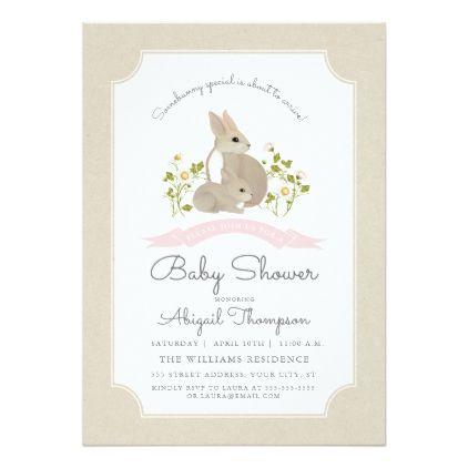 Bunny Baby Shower Invite