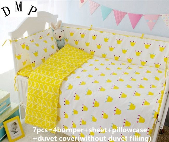 42.80$  Watch now - http://aliojf.shopchina.info/1/go.php?t=32620902701 - Promotion! 6/7PCS Crib baby bedding set curtain crib bumper baby cot sets baby bed ,Duvet Cover,120*60/120*70cm  #aliexpressideas
