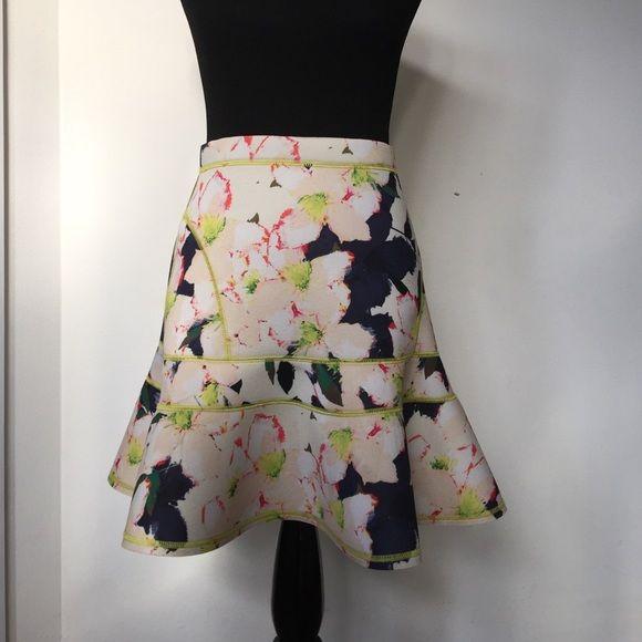 J. Crew Floral Neoprene Neon Skirt Sz 4 J. Crew Floral Neoprene Neon Skirt. One of a kind skirt! I got so many compliments because of the unique look and material. J. Crew Skirts