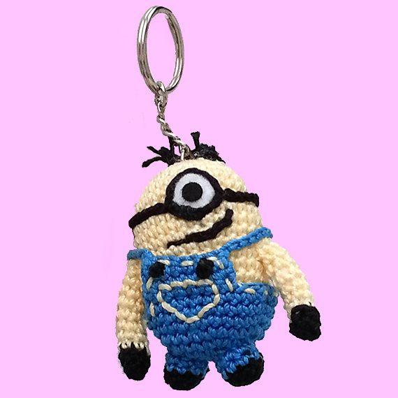 Crochet Monion. Despicable me keyring. Amigurumi by LilCuddles