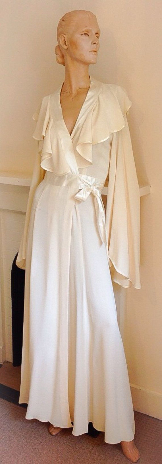 Ossie Clark 1970's Moss Crepe Vanilla Wrap by treasureswardrobe, I got married in this dress