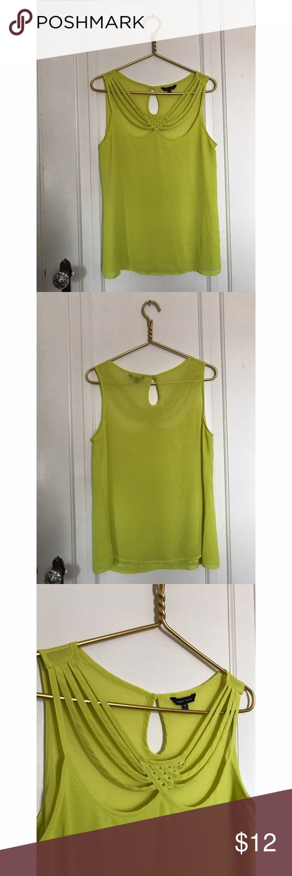 Electric Yellow Strappy Tank Cute, sheer tank with fun strappy detailing at neckline! Naked Zebra Tops Tank Tops
