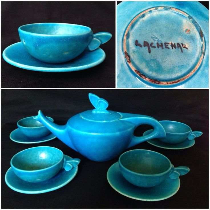 Edmond Or Raoul Lachenal Art Deco Circa 1910-30 Turquoise Blue Tea Cup Saucer