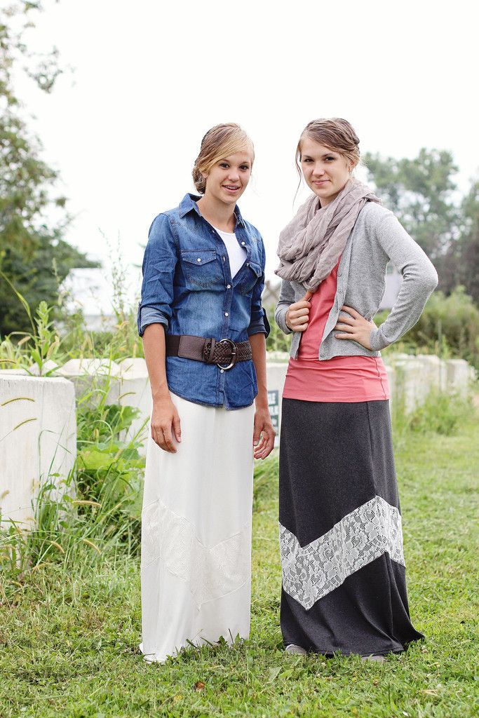 'Saralyn' Lace Chevron Maxi Skirt