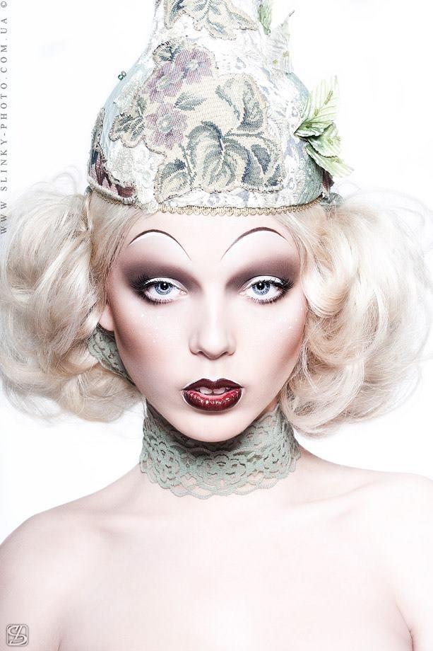 Pale avant garde beauty makeup