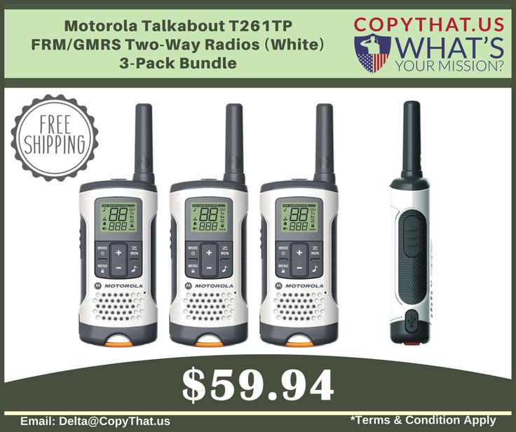 Copythat.us offer Motorola Talkabout T261TP FRM/GMRS Two-Way Radios (White) 3-Pack Bundle Features: 1)	Range up to 25 miles. 2)	11 Weather Channels (7 NOAA) with alert feature. 3)	22 channels and 121 privacy codes, totaling 2,662 combinations. 4)	iVOX/VOX acting like a speakerphone and allowing hands-free communication. 5)	Rechargeable NiMH batteries 6)	Compatible with FRS/GMRS radios For more Information Visit…