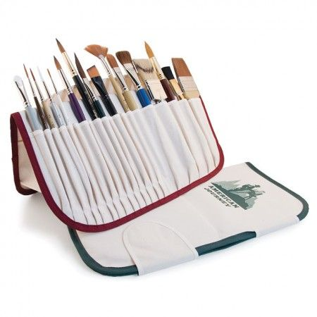 Give your best artist paint brushes a Home Sweet Home with an American Journey Brush Holder. Each brush holder is made of fine canvas fabric that is padded to be gentle on the art materials you love so much. The brush holder can hold up to 20 art brushes, but keep in mind this is for paint brushes with short handles. In addition to being a functional brush holder this holder will fold open like an easel and hold your brush as pretty as you please for easy access while you paint.