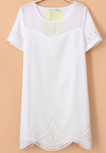 White Short Sleeve Hollow Slim