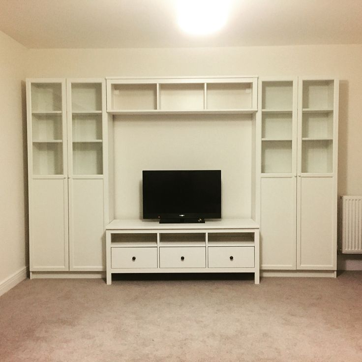 ikea storage system hemnes tv stand bench billy bookcase in white with oxberg doors home ideas. Black Bedroom Furniture Sets. Home Design Ideas