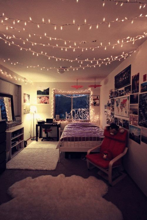 love the idea of fairy lights strung across the ceiling - Bedroom Ideas Christmas Lights