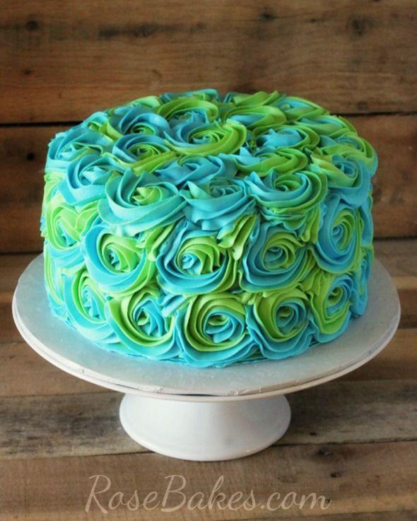 Turquoise Lime Green Swirled Buttercream Roses Cake Beautiful