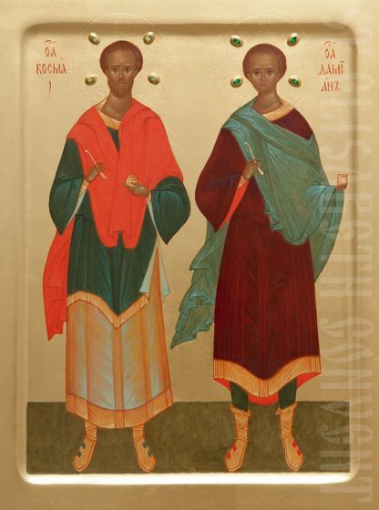 Handpainted icon of Ss Cosmas and Damian decorated with chiseling and gemstones to order #CatalogOfGoodDeeds #icon #iconography #orthodoxicon #orthodoxiconography #mountedicons #buyicon #ordericon #iconographers #saints