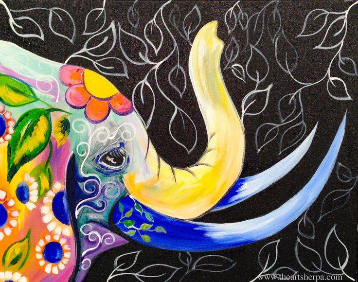 Bohemian Elephant Full Online Acrylic Painting Tutorial