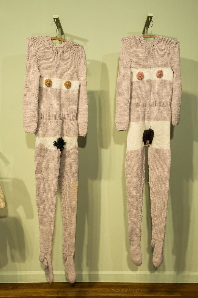 """Lisa and Janelle Iglesias, the Hermanas Iglesias collaborated with their mother to knit """"Nude Suits,"""" reminiscent of her upbringing on a Norway farm."""