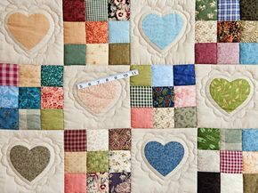 Hearts and Nine Patch Quilt -- magnificent adeptly made Amish Quilts from Lancaster (hs6508)