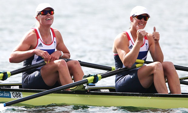 Great Britain's Katherine Grainger and Anna Watkins celebrate their gold medal win