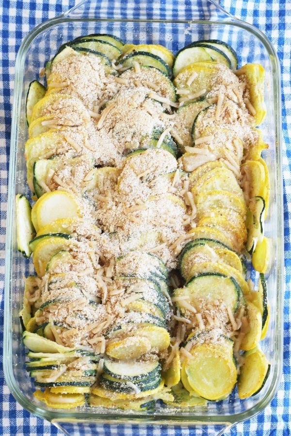 Baked yellow squash made into a gratin. This is a wonderful side dish and made easy with a food processor.