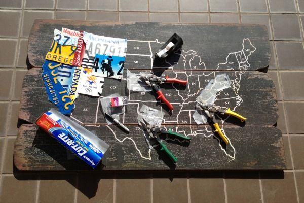 DIY License Plate Map CRAFT using Cost Plus World Market's Wood USA Wall Map ~ Created by The Craft Blog >> #WorldMarket Inspirations #DIY