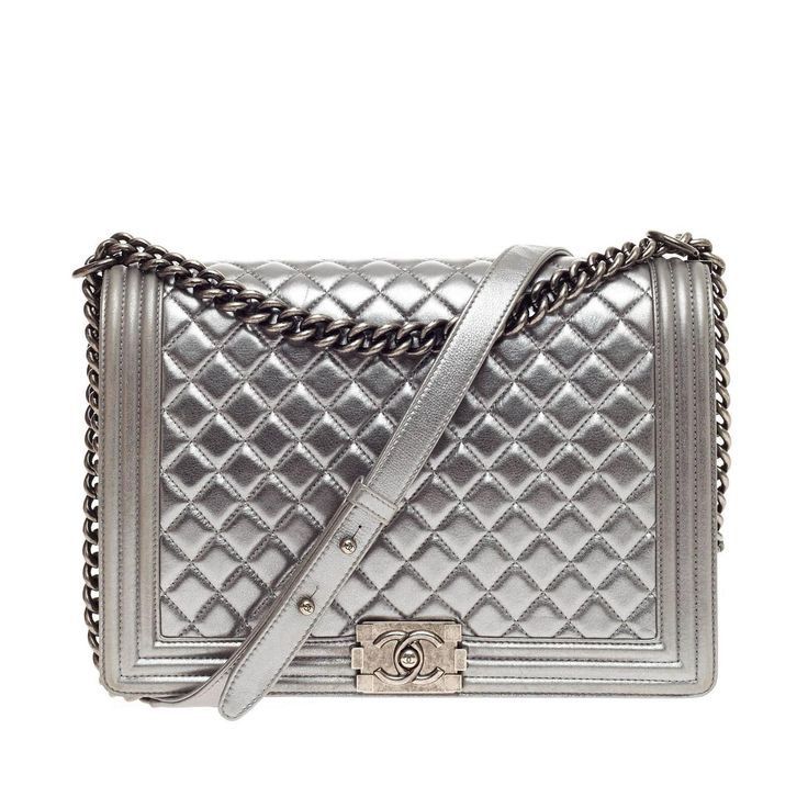 Chanel Boy Flap Quilted Lambskin Large | From a collection of rare vintage shoulder bags at https://www.1stdibs.com/fashion/handbags-purses-bags/shoulder-bags/