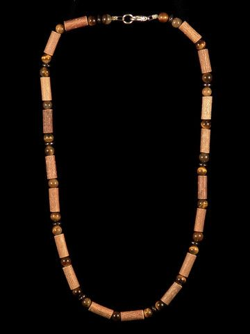 Men Hazelwood Necklace with Tiger Eye and Hematite beads