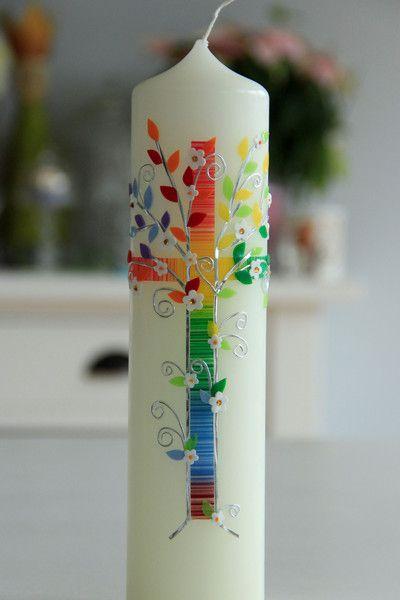 Taufkerzen - Taufkerze Lebensbaum - ein Designerstück von hand-art-beit bei DaWanda