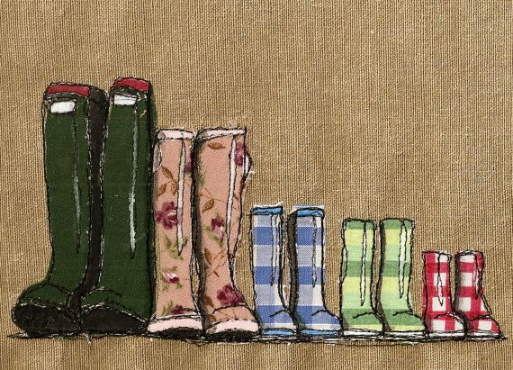 Original framed mixed media textile art Family of Wellingtons by KatieEssam, £60.00