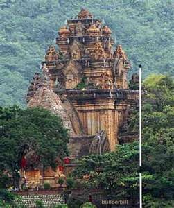 Cham towers in Nha Trang Vietnam. This tower is the remains of the lost civilization of the Champa in the year 1100 a.d.. This temple contains ancient inscriptions written on stone tablets. Today it is a tourist hotspot to go sightseeing.