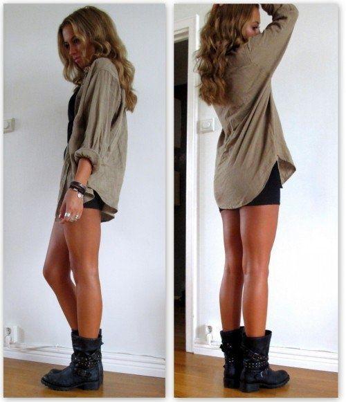 Long shirt/dress with short black skirt underneath w/ combat boots.